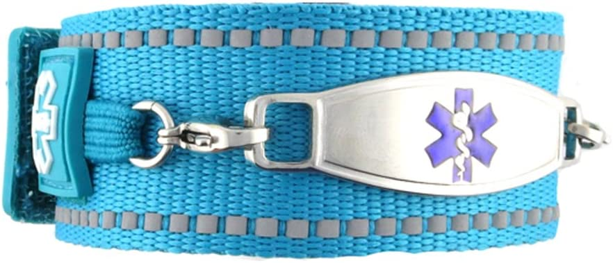 Waterproof Medical Alert ID Bracelet – Custom Engraving Included – Active, Sports -Turquoise Bracelet Purple M