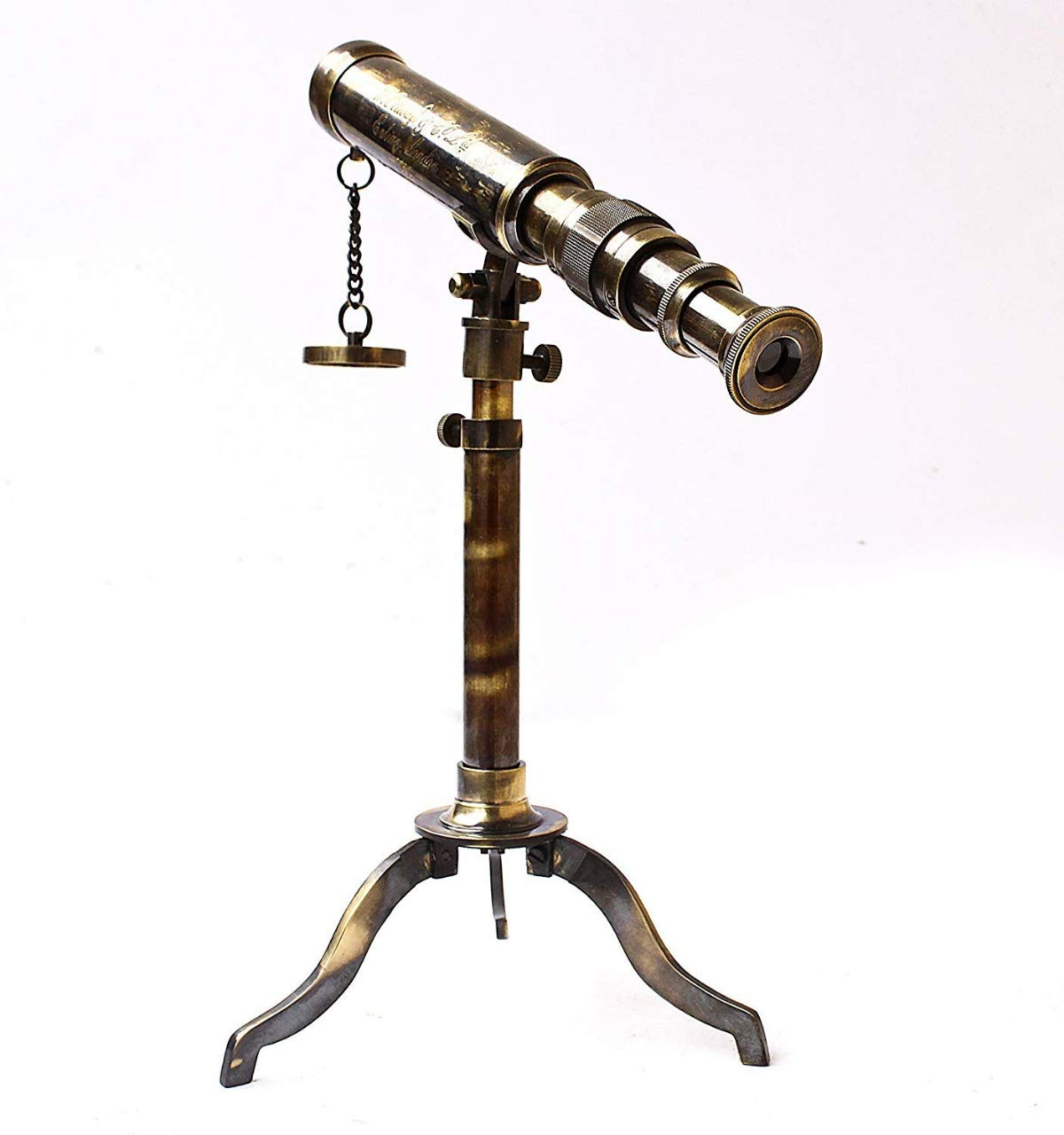 Antique Museum W. Ottway & Co. London Vintage Maritime Nautical 1915 Antique Brass Collectible Tripod Telescope with Hardwooden Box AMTC 035