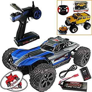 Redcat Racing Blackout XBE Pro Brushless Electric RC 1/10 Scale Buggy (Blue) Bundle (3 Items) Complete Buggy Kit w LIPO Battery 2.4 GHz Radio Controller + Mini Palm Sized RC Truck + RedCat Decals