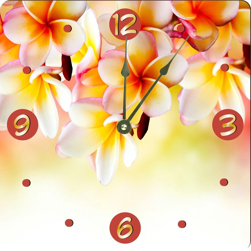 Rikki Knight Frangipani Tropical Spa Flower Design 13'' Art Wall Clock