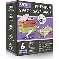 UMI door Amazon - Gemengde Combo van Premium Vacuüm Compressie Space Saver Zakken met Handpomp (6 Combo)