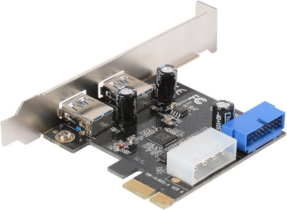 Sandis Desktop PCI-E to USB 3.0 Expansion Card With Interface USB 3.0 Dual Ports 20-pin Front For XP//Vista 10 AC328 7//8