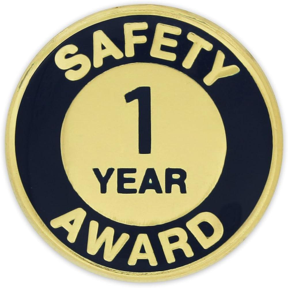 PinMart Gold and Navy 1 Year Safety Award Enamel Lapel Pin