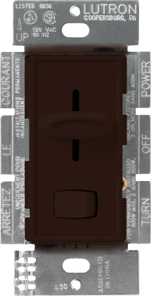 Lutron S-600P-BR Skylark Single Pole Dimmer with On/Off Switch, 600-watt, Brown
