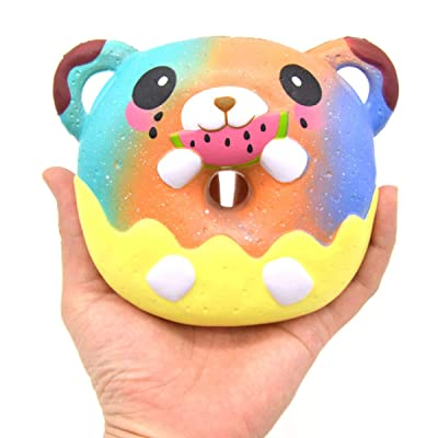 Areedy Squishy Slow Rising Bear Donuts Jumbo Scented Soft Toys Cartoon Doll (Galaxy): Toys & Games