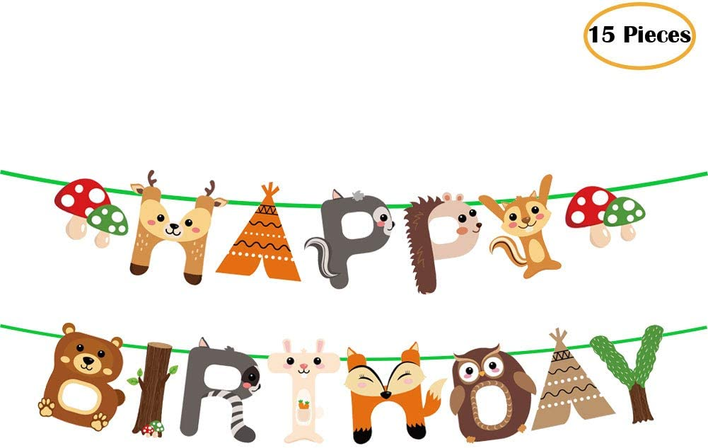15pcs Woodland Animals Happy Birthday Banner Decoration for Woodland Garland Forest Theme Birthday Festival Party