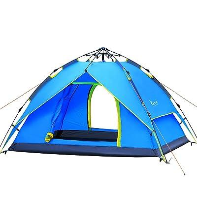 Canopée Hydraulique Dôme Tente Pour Camping Automatique Tentes Hydrauliques Imperméables 3-4 Personnes Canopy Facile à Installer Et Paquet Par Qisan- Bleu