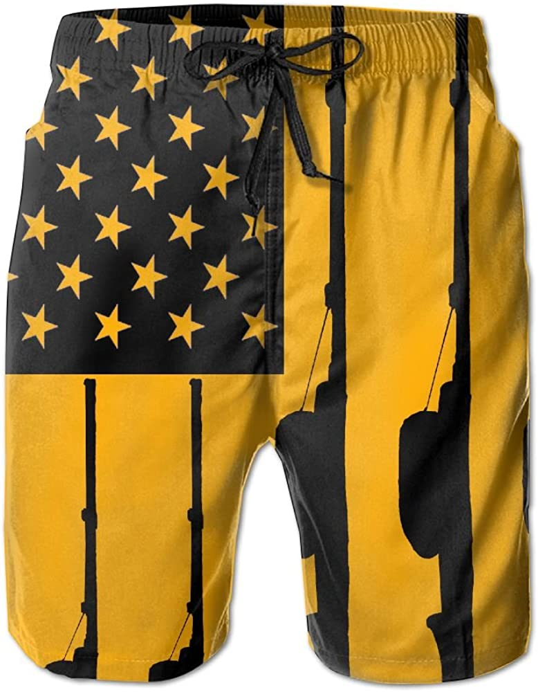 YOIGNG Boardshorts Fishing American Flag Mens Quick Dry Swim Trunks Beach Shorts