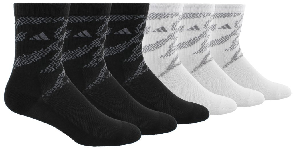 adidas Boys/Youth Tiger Style Cushioned Crew Socks (6-Pack) Agron Socks 976699-P