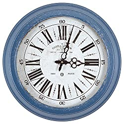 Yosemite Home Decor CLKA7185ME Circular Iron Wall Clock Blue Frame, White Face, Black Text, Black Hands