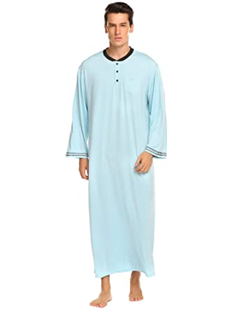 Amazon.com  Ekouaer Men s Nightshirts Soft Sleepwear Long Night ... 6fe2d4ccc