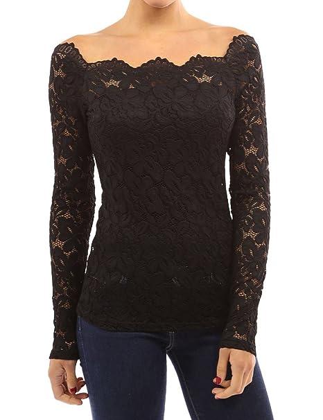 8765e3e55e Tkiames Mujeres Camisetas Manga Larga Blusas de Encaje Flores Lace Crochet  sin Tirantes Camisas Shoulder Off