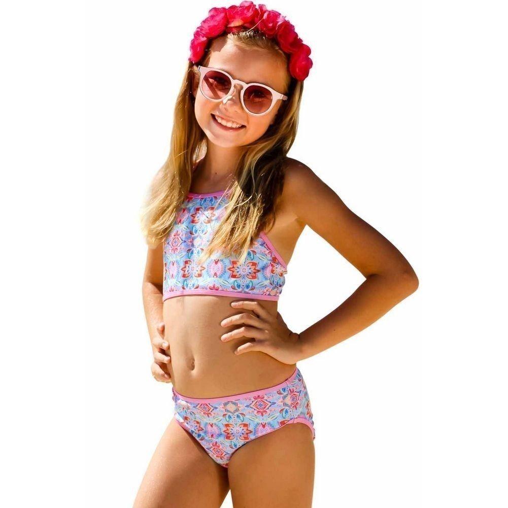Sun Emporium Little Girls Pink Summer Daze Print Halter Top Bikini Set 4-6