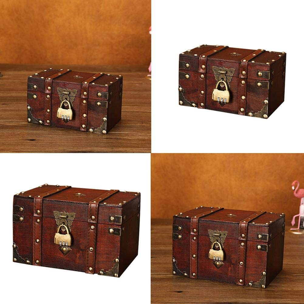 Animatey 1L Vintage Style Leather Treasure Chest Decorative Box 2 Size Wooden Chest Trunk