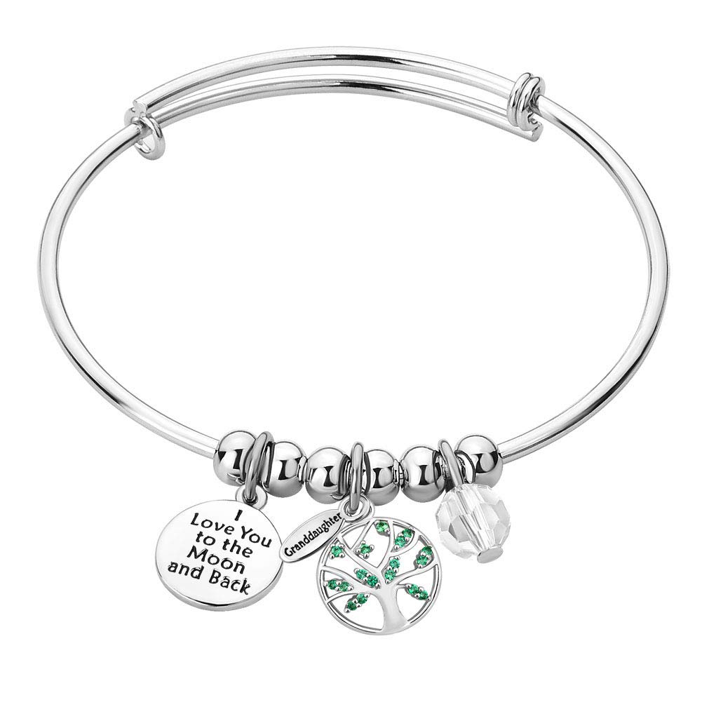 CLY Jewelry Engraved Expandable Bangle Bracelet Family Tree Of LIfe With Crystal I Love You To The Moon And Back Ideal Gift For Women Girl Wife Mom Daughter Granddaughter Grandma Birthday Mothers Day