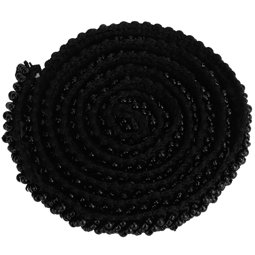 HEEPDD 1 Yard Pearl Ribbon Tape Pearl Beads Decorative Tape Trim Ribbon Vintage Style Fabric Embroidered Applique Sewing Craft Wedding Bridal Dress Party Clothes Decor 1.5cm Black Square Tube Beads