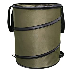 Collapsible Garden Waste Bag Reusable Canvas Camping Trash Can Bucket Pop-up Yard Leaf Bag Holder Outdoor Gardening Container Garage Storage for Lawn Pool Garden 10 Gallon, Green