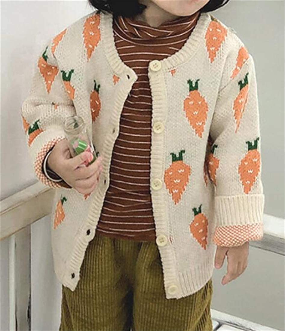 Joe Wenko Girls Winter Long Sleeve Carrot Button-Down Knitted Cardigan Sweater