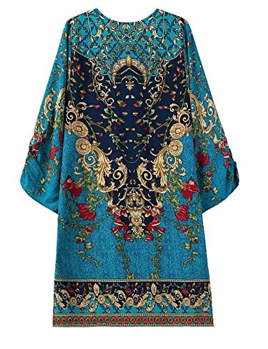 Small-laly Women's Baroque Floral Print Bohemian 3/4 Sleeve Casual Midi Dress Navy Blue Large