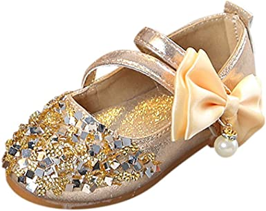 Infant Kids Baby Girls Pendant Bowknot Crystal Bling Sequins Single Princess Shoes