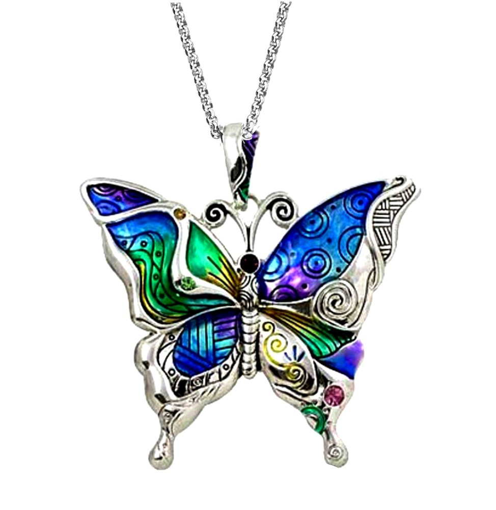 DianaL Boutique Silver Tone Beautiful Dragonfly Locket Pendant Necklace 24 Stainless Steel Chain