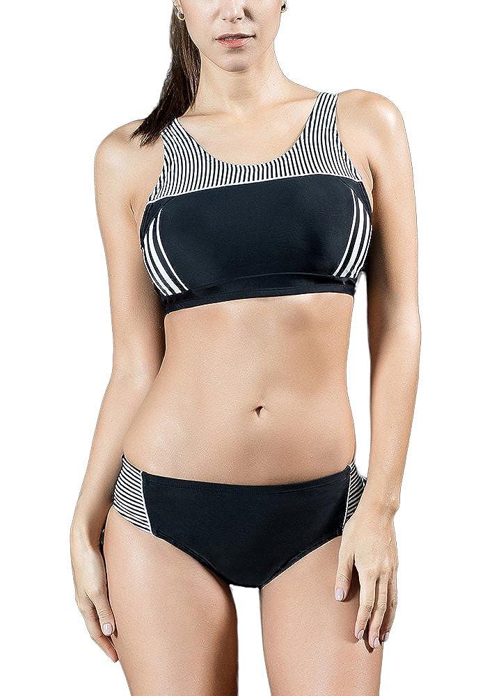 6dc0e4d1af Amazon.com  Romacci Women Sporty Tankini Set Striped Cropped Tank Top  Padded Wireless Two Pieces Bikini Swimsuit Swimwear  Clothing