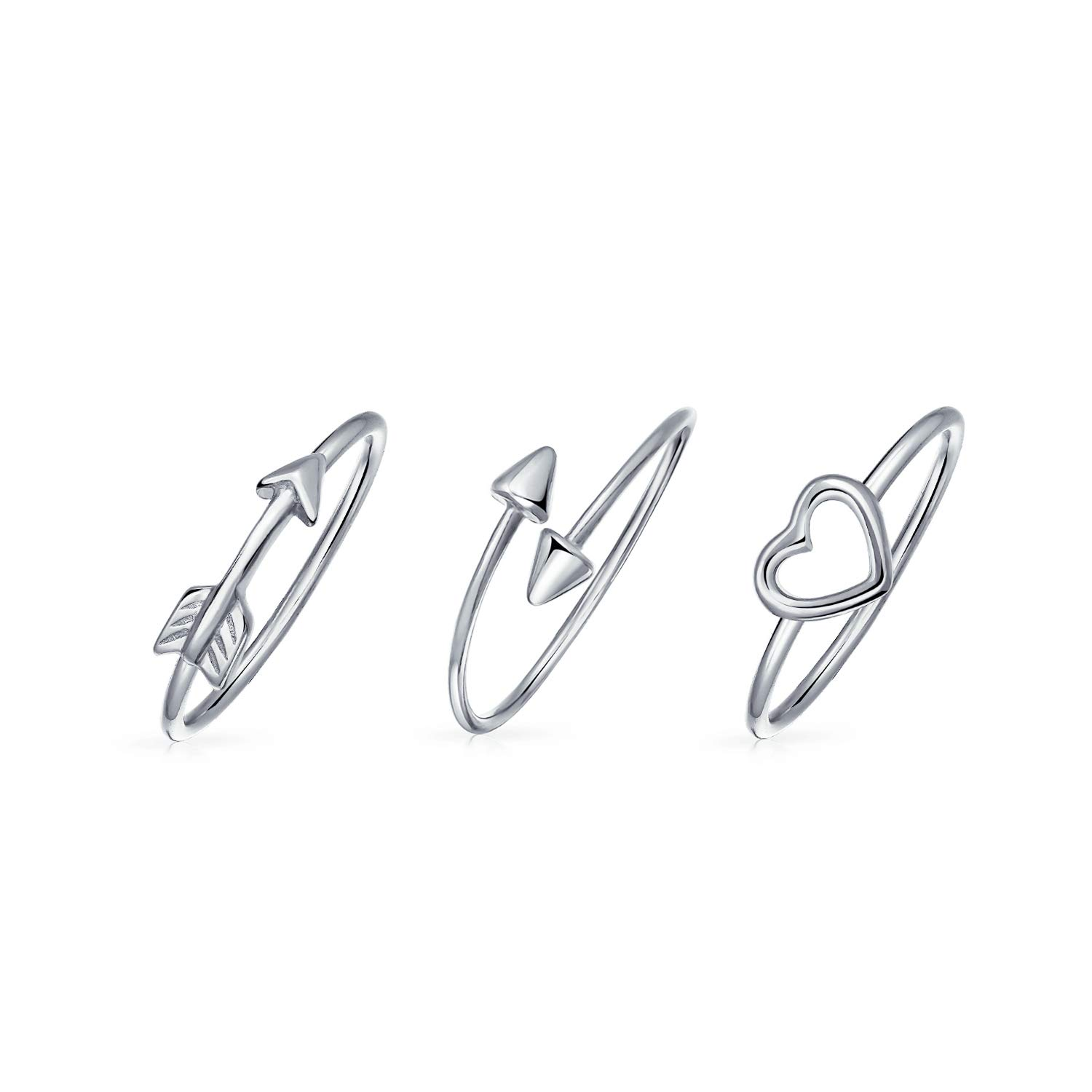 3 Set 925 Sterling Silver Love Sentimental Cupids Arrow Heart Knuckle Midi Ring For Girlfriend For Teen