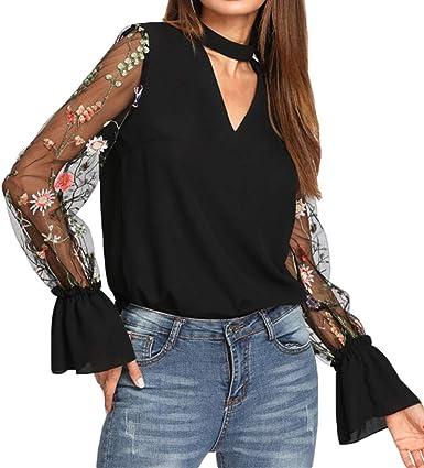 Qingsiy Camisetas Mujer Manga Larga con Cuello en V Originales Fiesta Blusas Elegantes Mujeres con Cuello en v Bordado Splice Trompeta Manga Camisa: Amazon.es: Ropa y accesorios