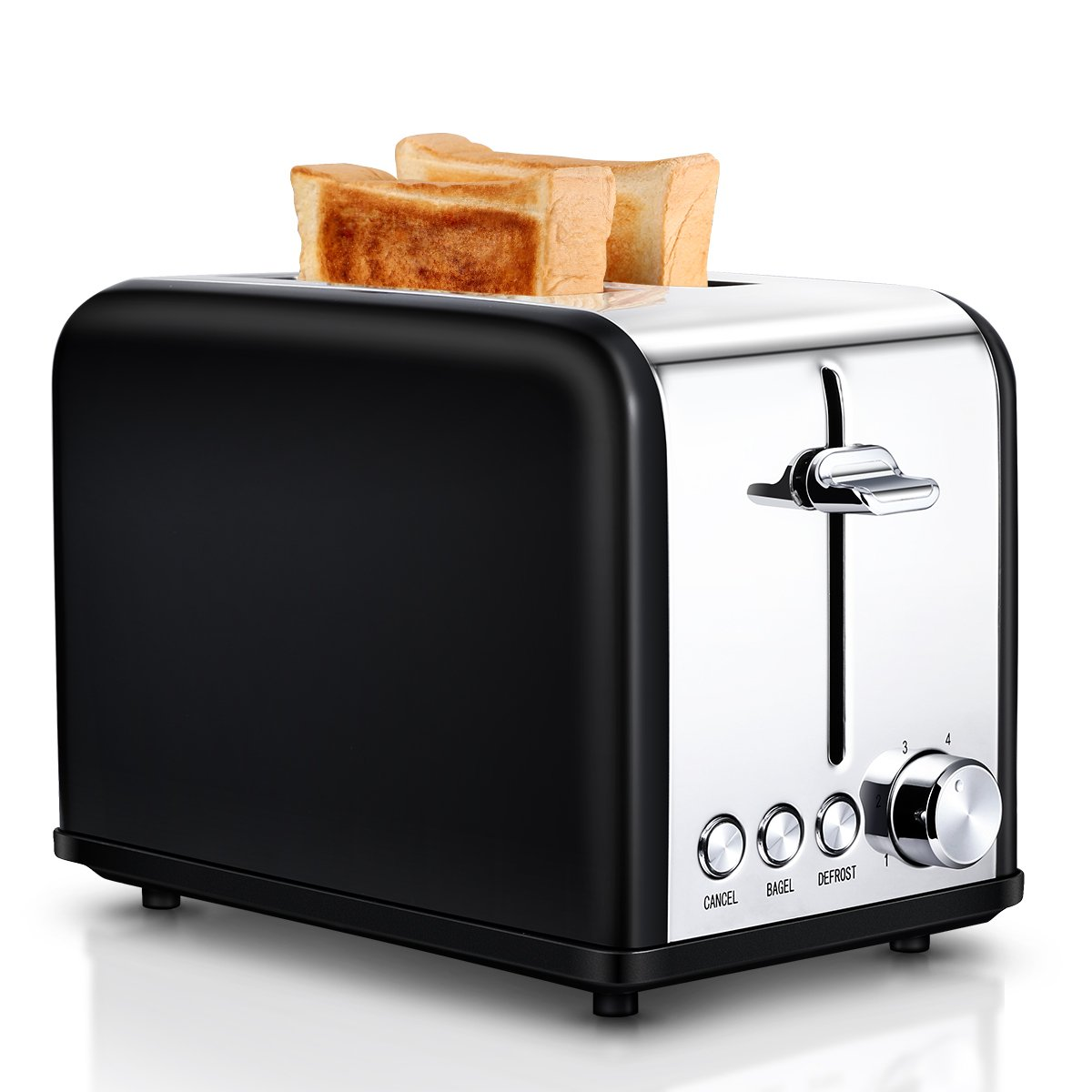 Small Wide Slot Black Toasters Two Slice, Stainless Steel Kitchen Toaster for Bagels Bread