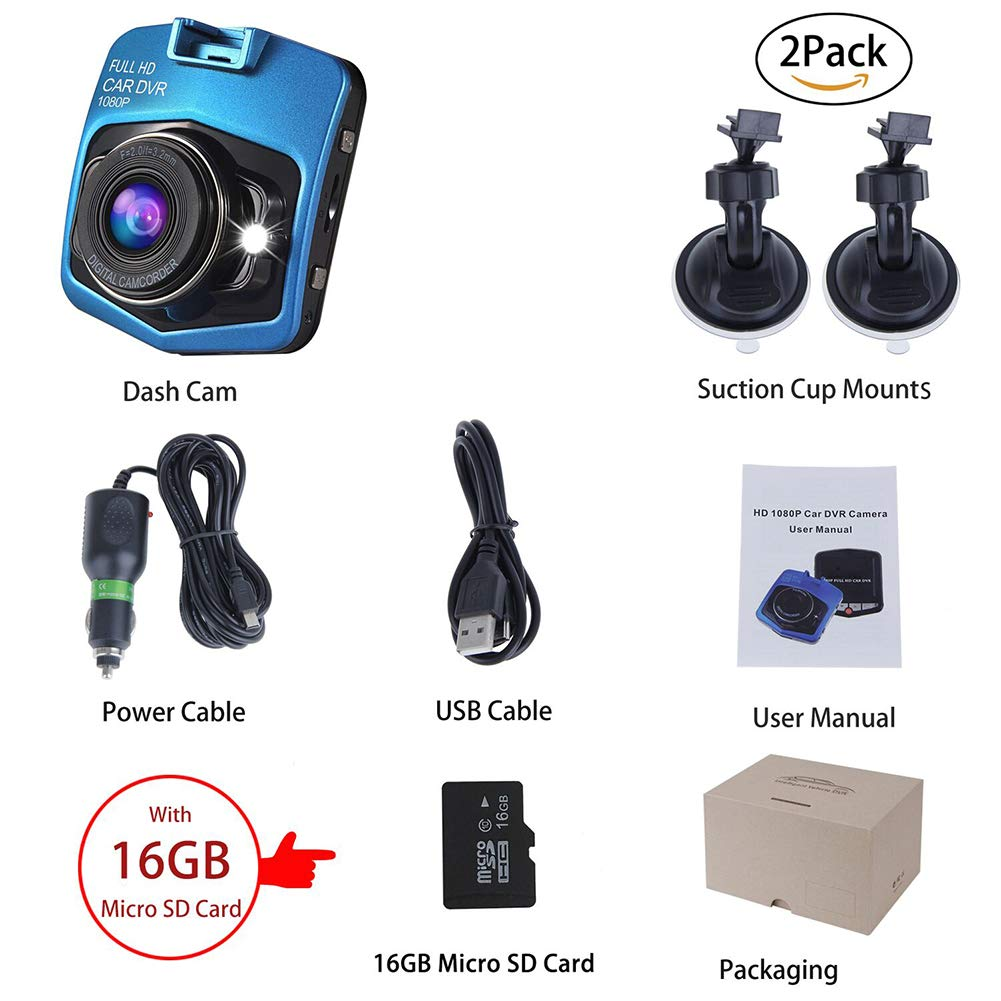 140/°Wide Angle Anmyox 2019 Upgraded Dash Cam for Cars 1080P Car Dashboard Camera Full HD with 2 PACK 6ft iPhone USB Cable G-Sensor Loop Recording and Motion Detection