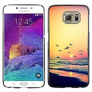 Be Good Phone Accessory // Dura Cáscara cubierta Protectora Caso Carcasa Funda de Protección para Samsung Galaxy S6 SM-G920 // sunset seagull ocean summer orange
