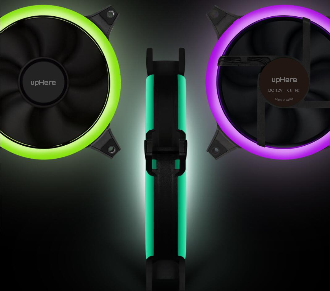 upHere 3-Pack Wireless RGB LED 120mm Case Fan,Quiet Edition High Airflow Adjustable Color LED Case Fan for PC Cases, CPU Coolers,Radiators system by upHere (Image #4)