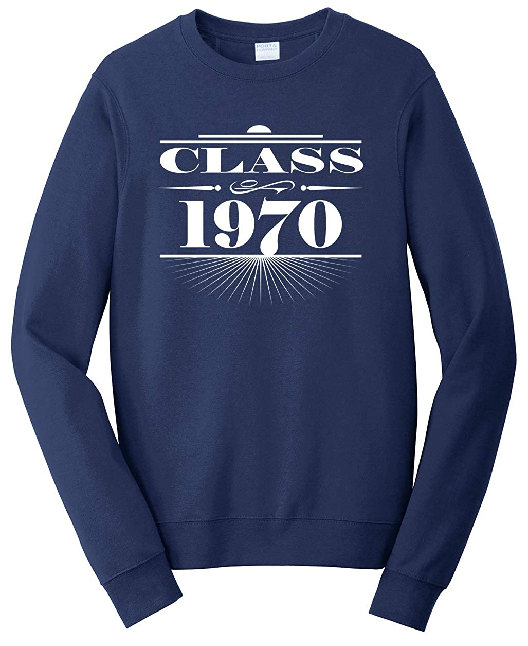Small Tenacitee Unisex Art Deco Class of 1970 Sweatshirt Navy