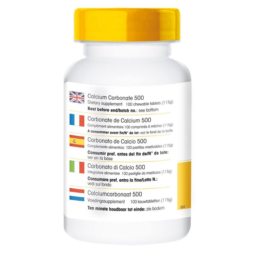 Carbonato de Calcio 500mg - Comprimidos masticables - Vegano - 188mg de calcio: Amazon.es: Salud y cuidado personal