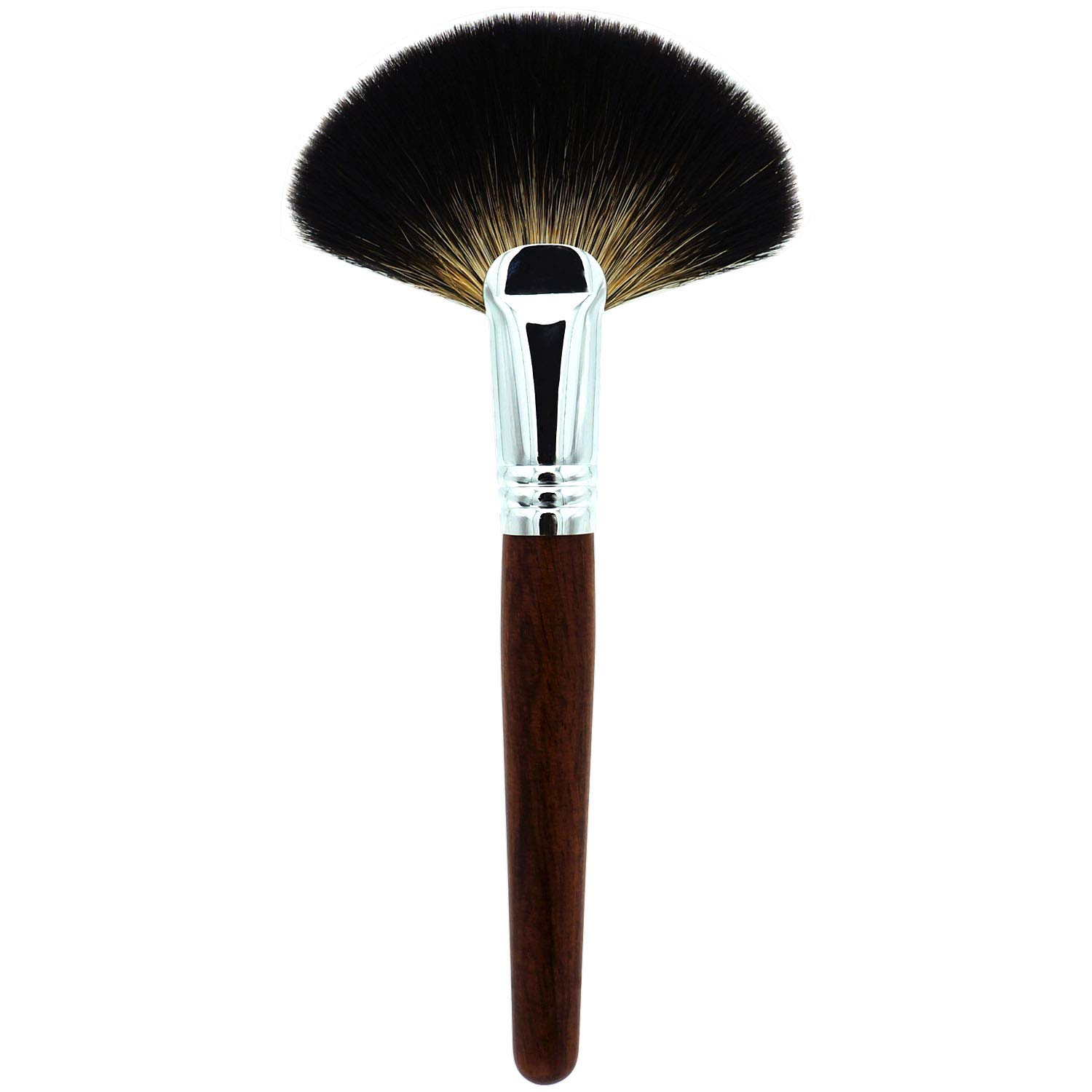 Amazon Com Lovchu Racoon Animal Hair Professional Fan Makeup Brush With Mahogany Handles For Powder Mineral Perfect For Blending Face Highlighting Application Blend Coverage Buffing Cosmetics Make Up Tool Beauty