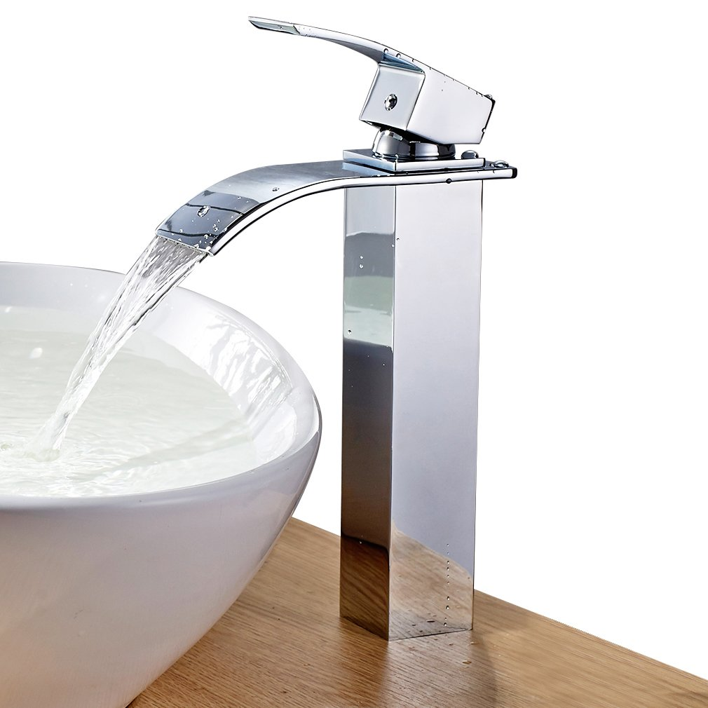 ROVATE Bathroom Waterfall Vessel Sink Faucet, Single Hole Single Handle Vanity Faucet Polished Chrome by ROVATE