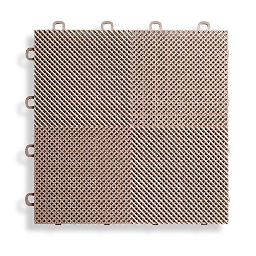Polymer Sink Hole Covers - BlockTile B2US5130 Deck and Patio Flooring Interlocking Tiles Perforated Pack, Beige, 30-Pack