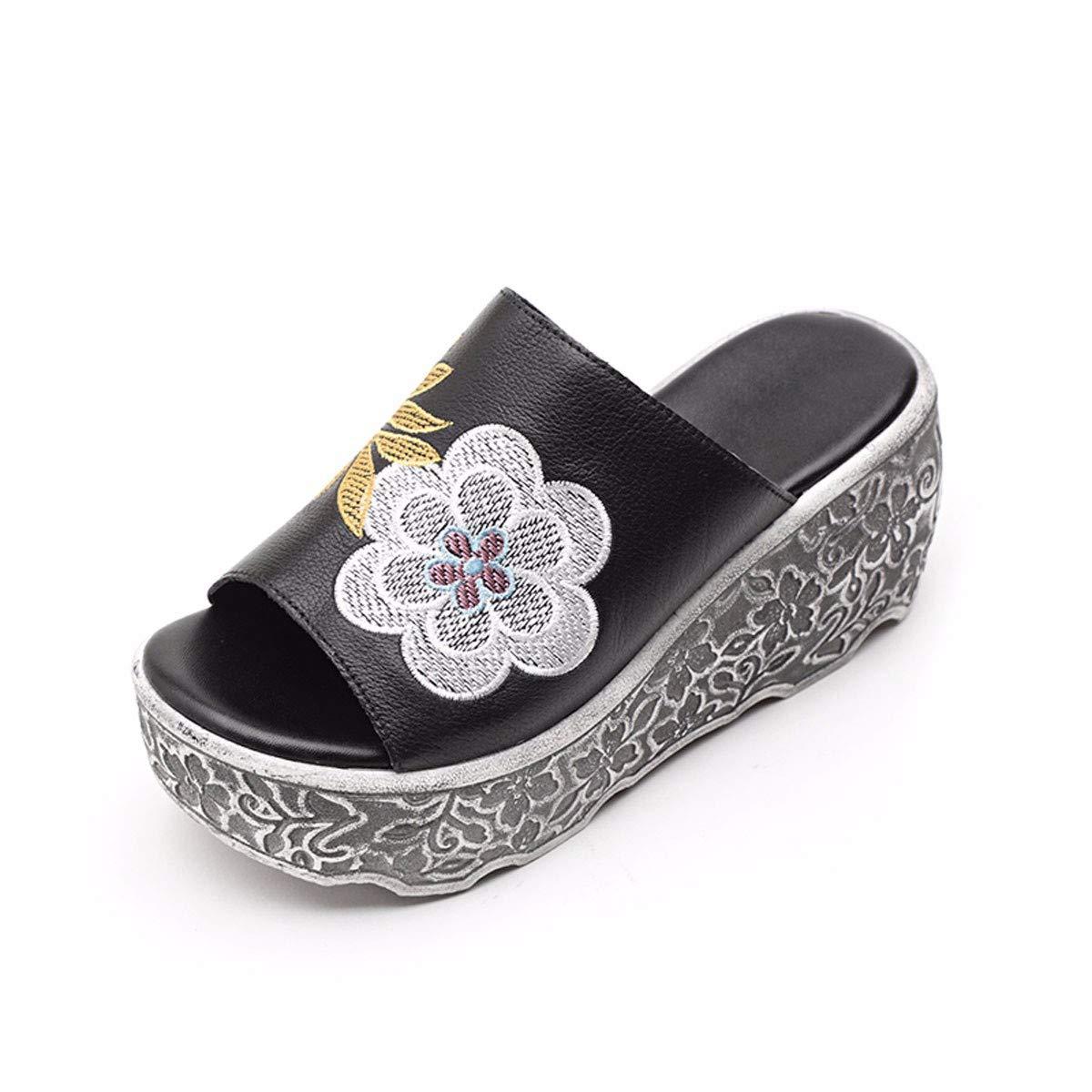KPHY Damenschuhe Sandalen Schuhe Leder-Slipper Sommer-Mode Ein Outwear 8 cm High Heels Ein Sommer-Mode Schuh Dicke Boden-Piste-Heels 35 Schwarz ea8d89