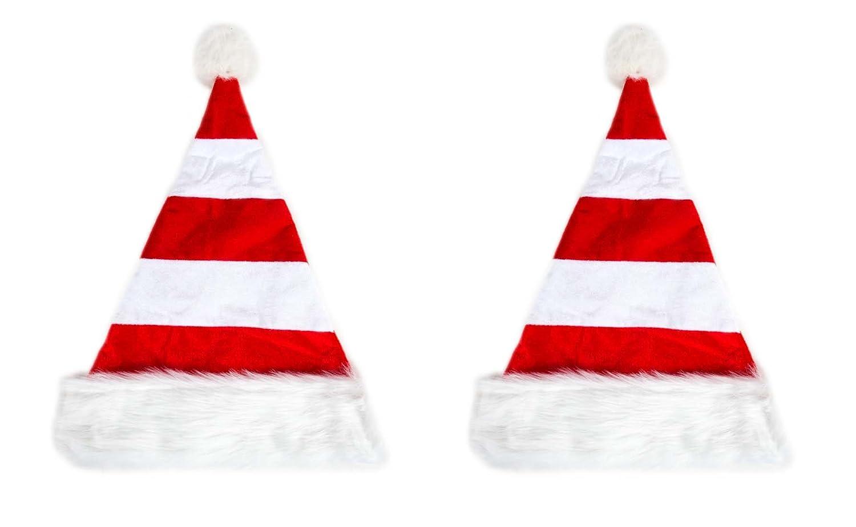 2 er Set Weihnachtsmütze Nikolausmütze Weiß Rot Gestreift Plüsch Rand Nikolaus Mütze X57