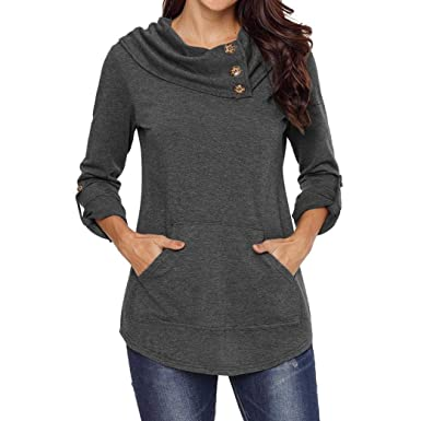 044035fc09f41 Gyoume Sweater Tops Women Winter Cowl Neck Hoodie Sweater Button Blouse  Kangaroo Pocket Pullover at Amazon Women s Clothing store