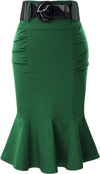 Belle Poque Falda Mujer Vintage Ruffles Estilo Retro Plisada ...