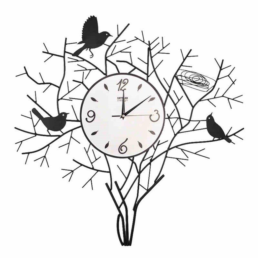 YFF-壁時計 現代ミニマリストクリエイティブアイアンウォールクロックパストラルバードアートリビングルーム壁掛け時計ミュート美しい装飾時計 B07CQTKKXD