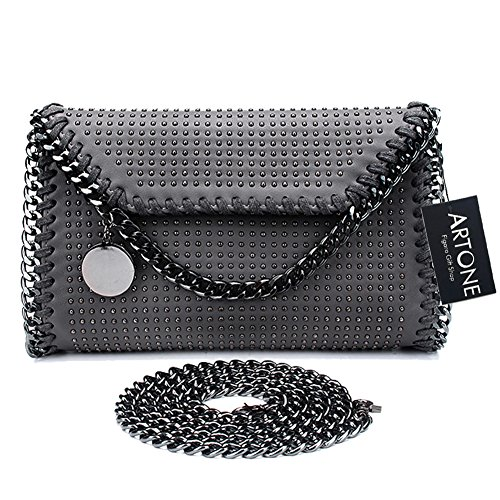 Chain Tote PU Ipad Shoulder Fit Mini Apricot Women's Rock Punk Artone Casual Bag Grey t4wqn