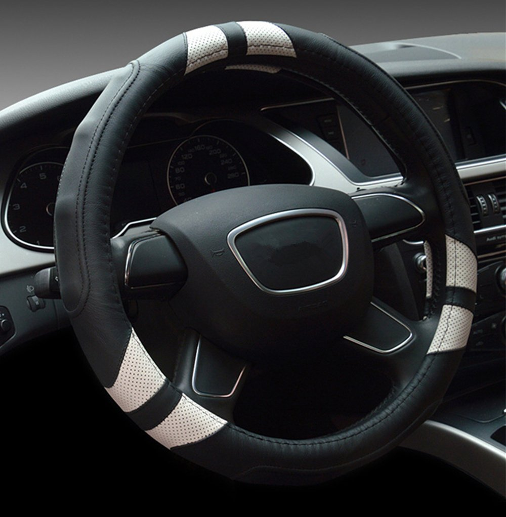 Dee-Type Leather Steering Wheel Cover Universal 15 inch Black & White