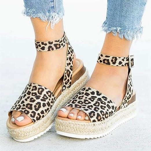 Women Platform Leopard Sandals Buckle