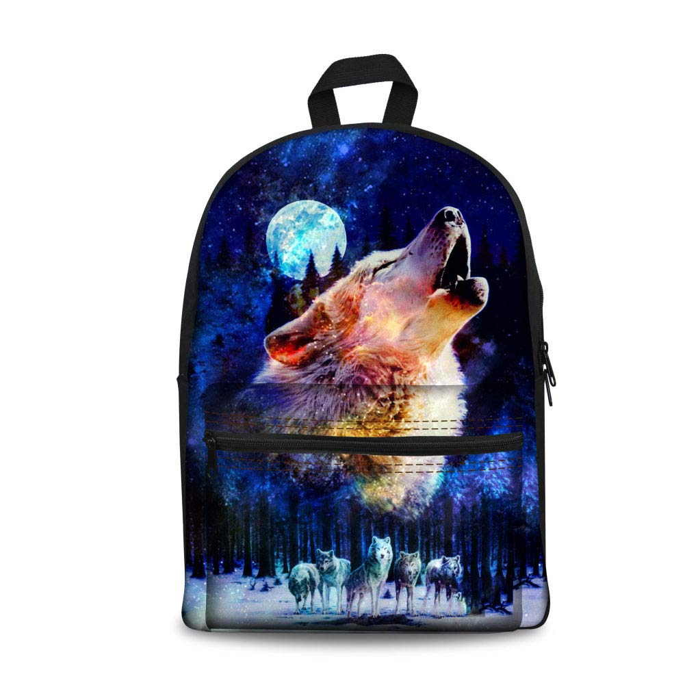 Galaxy Wolf coloranimal 3PCS Set of Canvas Jansport Backpack+Insulated Lunch Box+Pencil Case