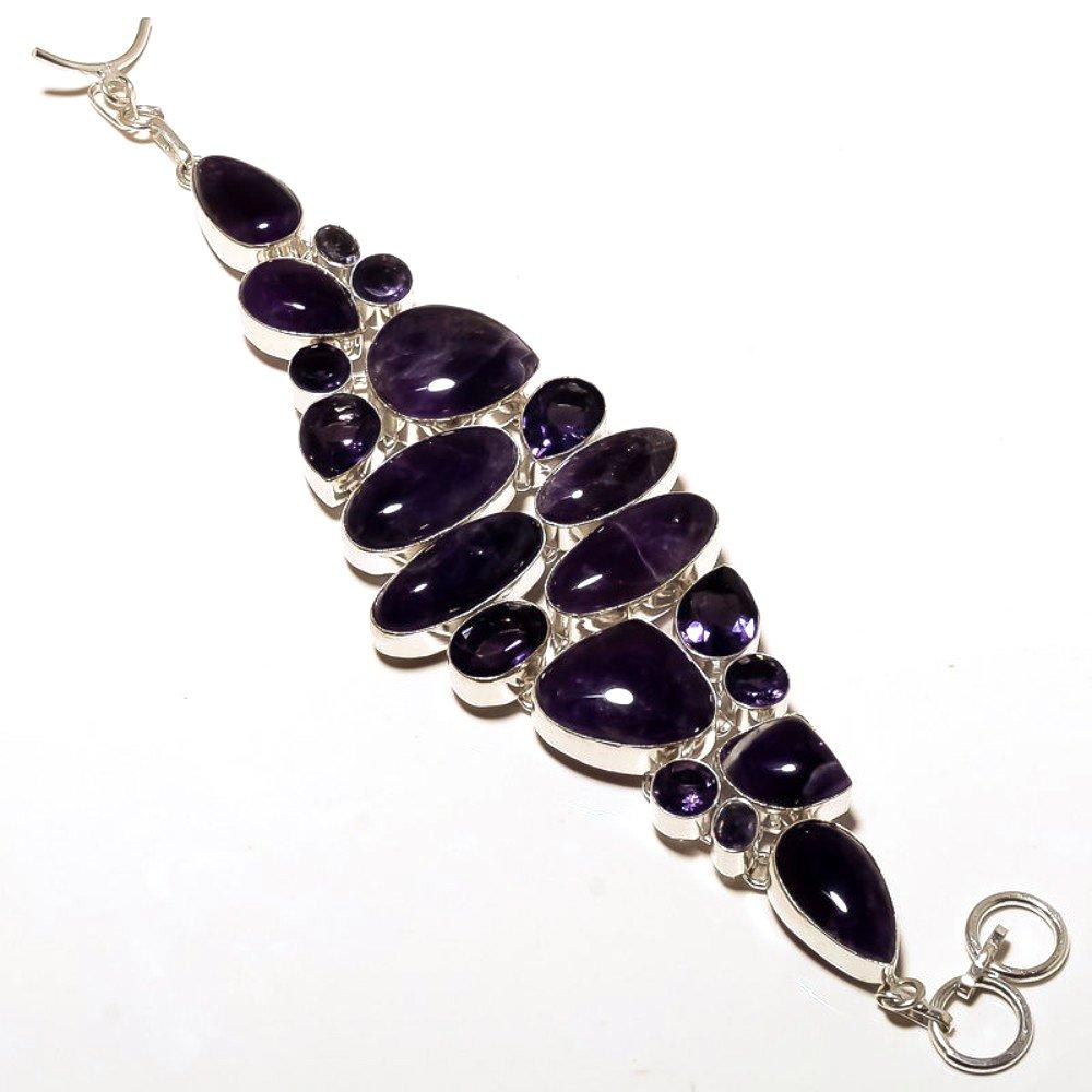 Handmade Jewelry Green Amethyst Quartz Sterling Silver Overlay 70 Grams Bracelet 7-9 Gift Jewelry