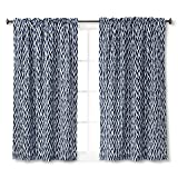 Room Essentials Light Blocking Curtain Panel – Navy Wave (42″x63″) Review