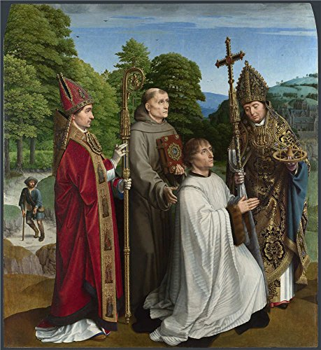 Oil Painting 'Canon Bernardijn Salviati And Three Saints 1501, Gerard David', 30 x 33 inch / 76 x 83 cm , on High Definition HD canvas prints, gifts for Bar, Home Theater And Laundry Room Decoration