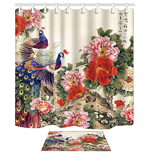 Wild Peacock Shower Curtain Set Polyester Fabric Bathroom Curtains Mat Rug New